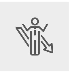 Man with arrow down thin line icon vector