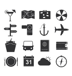 travel icons set of black icons tourism vector image