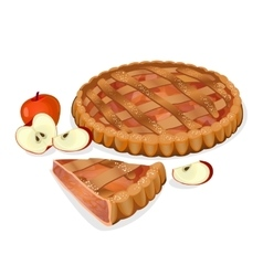 Apple pie with fruits cut slice isolated vector image vector image