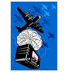 bomber airplane dropping radio parachute vector image vector image