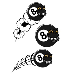 Flying victorious number 8 billiard ball icons vector image vector image