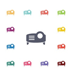 projector flat icons set vector image vector image