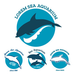 sea aquarium emblem set vector image