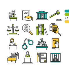 Set linear judiciary colored icons vector