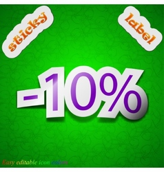 10 percent discount icon sign Symbol chic colored vector