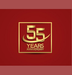 55 years anniversary with square and swoosh vector
