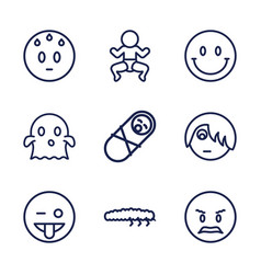 9 funny icons vector