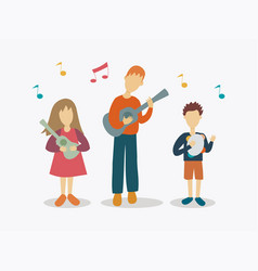 A father playing music instrumentals with kids vector