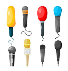 A set microphones made in style a vector