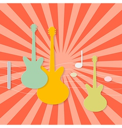 Abstract Paper Guitars on Retro Red Background vector