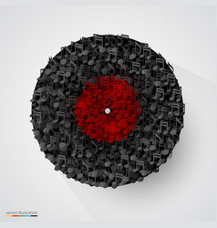 abstract vinyl disk made of notes vector image