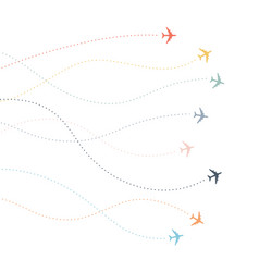 airplane line path dotted lines flight paths vector image