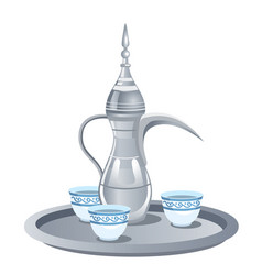 Arabic coffee set with dallah three cups vector