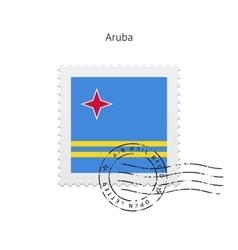 Aruba Flag Postage Stamp vector image