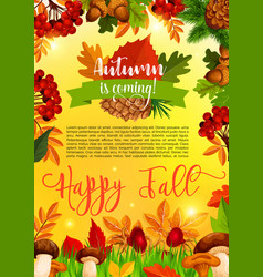 Autumn and fall season banner template with leaf vector