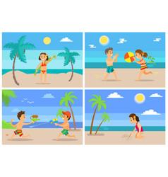beach summertime vacation kids children set vector image