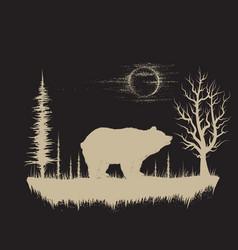 bear in strange forest vector image