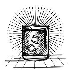 best whiskey cup drawn vector image