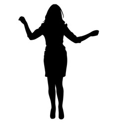 black silhouette of a dancing woman vector image