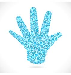 Blue gear make open hand stock vector