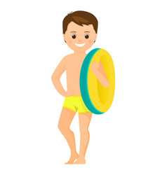 boy with inflatable ring vector image