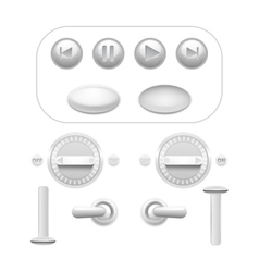 Button Set White vector