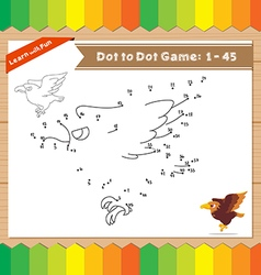 Cartoon Eagle Dot to dot educational game for kids vector image