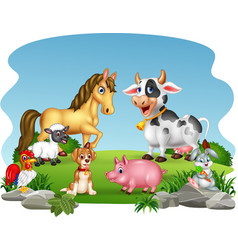 Cartoon farm animals with nature background vector