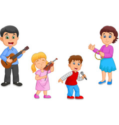 cartoon happy family playing music together vector image