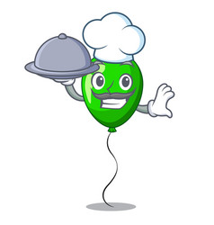 Chef with food green ballon with cartoon ribbons vector