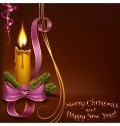 Christmas candle on a brown background vector image