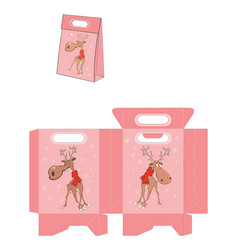 Christmas deer handbags packages pattern vector