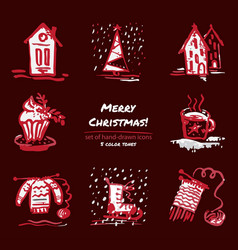christmas hand drawn sketch icons on dark red vector image