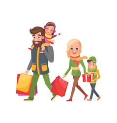christmas holidays shopping happy family together vector image