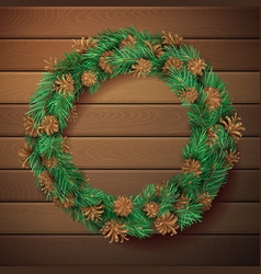 christmas square wooden background with pine vector image