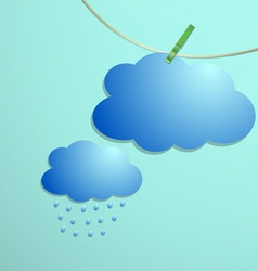 Cloud and rain drops icon hang on string vector