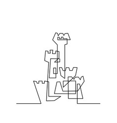 continuous line drawing modern building vector image