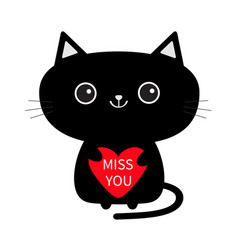Cute black cat icon holding red heart miss you vector