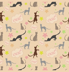 Cute funny seamless pattern with cats and flower vector image