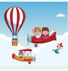 cute kids flying cartoons vector image