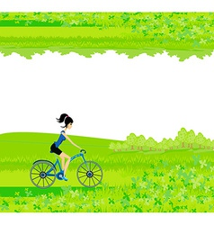 Cycling Poster with silhouette Girl - abstract vector image
