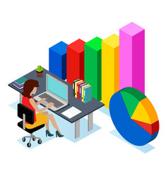 data analysis woman at laptop business graphic vector image