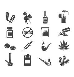 Drugs glyph icons set isolated on white background vector