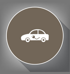 electric car sign white icon on brown vector image