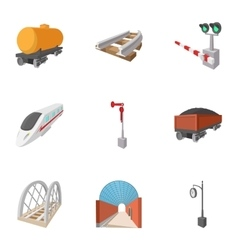 Electrical train icons set cartoon style vector