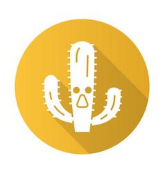 Elephant cactus flat design long shadow glyph icon vector