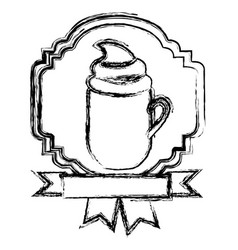Emblem cooffe cream cup with ribbon vector