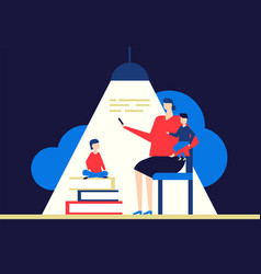 family reading - flat design style conceptual vector image