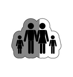 family silhouette isolated icon vector image