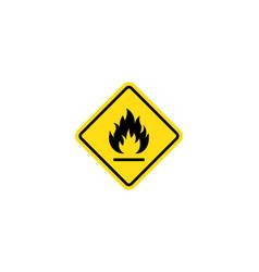 Flammable materials warning sign fire warning vector